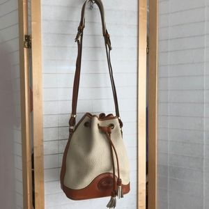 Dooney & Bourke pebbled leather bucket bag brown